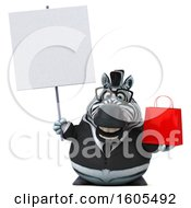 Clipart Of A 3d Business Zebra Holding A Shopping Bag On A White Background Royalty Free Illustration