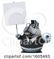 Clipart Of A 3d Business Zebra Holding An Eyeball On A White Background Royalty Free Illustration