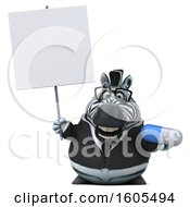 Clipart Of A 3d Business Zebra Holding A Pill On A White Background Royalty Free Illustration