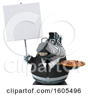 Clipart Of A 3d Business Zebra Holding A Pizza On A White Background Royalty Free Illustration