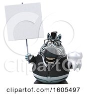 Clipart Of A 3d Business Zebra Holding A Tooth On A White Background Royalty Free Illustration