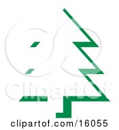 Outline Of An Evergreen Tree In A Forest Clipart Illustration