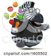 Clipart Of A 3d Business Zebra Holding Produce On A White Background Royalty Free Illustration
