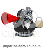 Clipart Of A 3d Business Zebra Holding A Padlock On A White Background Royalty Free Illustration