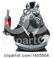 Clipart Of A 3d Business Zebra Holding Wine On A White Background Royalty Free Illustration