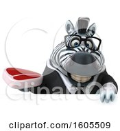 Clipart Of A 3d Business Zebra Holding A Steak On A White Background Royalty Free Illustration