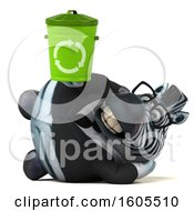 Clipart Of A 3d Business Zebra Holding A Recycle Bin On A White Background Royalty Free Illustration