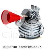 Clipart Of A 3d Zebra Using A Megaphone On A White Background Royalty Free Illustration