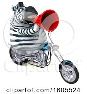 3d Zebra Riding A Motorcycle On A White Background