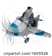 Clipart Of A 3d Zebra Flying A Plane On A White Background Royalty Free Illustration by Julos
