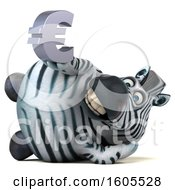 Clipart Of A 3d Zebra Holding A Euro On A White Background Royalty Free Illustration by Julos