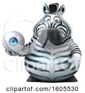 Clipart Of A 3d Zebra Holding An Eyeball On A White Background Royalty Free Illustration by Julos