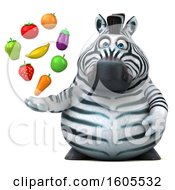 Clipart Of A 3d Zebra Holding Produce On A White Background Royalty Free Illustration by Julos