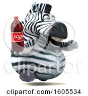 Clipart Of A 3d Zebra Holding A Soda On A White Background Royalty Free Illustration by Julos