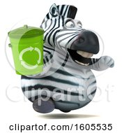 Clipart Of A 3d Zebra Holding A Recycle Bin On A White Background Royalty Free Illustration by Julos