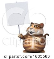 Clipart Of A 3d Tabby Kitty Cat Holding A Blank Sign On A White Background Royalty Free Illustration by Julos