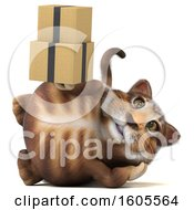 Clipart Of A 3d Tabby Kitty Cat Holding Boxes On A White Background Royalty Free Illustration by Julos