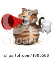 Clipart Of A 3d Tabby Kitty Cat Holding A Tooth On A White Background Royalty Free Illustration by Julos