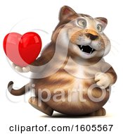 Clipart Of A 3d Tabby Kitty Cat Holding A Heart On A White Background Royalty Free Illustration by Julos