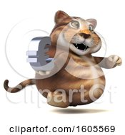 Clipart Of A 3d Tabby Kitty Cat Holding A Euro On A White Background Royalty Free Illustration by Julos