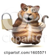 Clipart Of A 3d Tabby Kitty Cat Holding A Padlock On A White Background Royalty Free Illustration by Julos