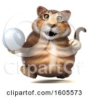 Clipart Of A 3d Tabby Kitty Cat Holding A Golf Ball On A White Background Royalty Free Illustration by Julos