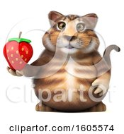 Clipart Of A 3d Tabby Kitty Cat Holding A Strawberry On A White Background Royalty Free Illustration by Julos