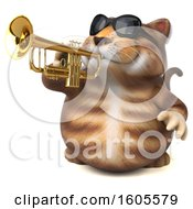 Clipart Of A 3d Tabby Kitty Cat Playing A Trumpet On A White Background Royalty Free Illustration by Julos