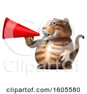 Clipart Of A 3d Tabby Kitty Cat Using A Megaphone On A White Background Royalty Free Illustration by Julos