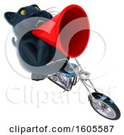 Clipart Of A 3d Black Kitty Cat Biker Riding A Motorcycle On A White Background Royalty Free Illustration