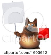 3d German Shepherd Dog Holding A Shopping Bag On A White Background