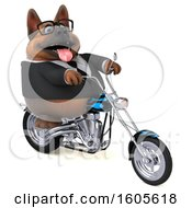 Clipart Of A 3d Business German Shepherd Dog Riding A Motorcycle On A White Background Royalty Free Illustration