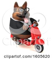 Clipart Of A 3d Business German Shepherd Dog Riding A Scooter On A White Background Royalty Free Illustration