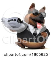 Clipart Of A 3d Business German Shepherd Dog Holding A Plane On A White Background Royalty Free Illustration