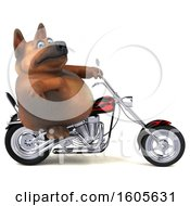 Clipart Of A 3d German Shepherd Dog Biker Riding A Motorcycle On A White Background Royalty Free Illustration