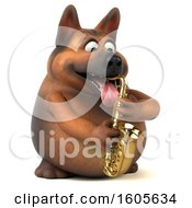 3d German Shepherd Dog Playing A Saxophone On A White Background