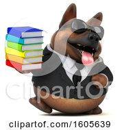 Clipart Of A 3d Business German Shepherd Dog Holding Books On A White Background Royalty Free Illustration by Julos