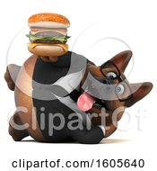 Clipart Of A 3d Business German Shepherd Dog Holding A Burger On A White Background Royalty Free Illustration by Julos