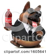 Clipart Of A 3d Business German Shepherd Dog Holding A Soda On A White Background Royalty Free Illustration by Julos