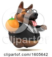 Clipart Of A 3d Business German Shepherd Dog Holding An Orange On A White Background Royalty Free Illustration by Julos