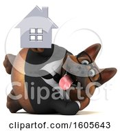 Clipart Of A 3d Business German Shepherd Dog Holding A House On A White Background Royalty Free Illustration by Julos