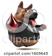 Clipart Of A 3d Business German Shepherd Dog Holding A Blood Drop On A White Background Royalty Free Illustration by Julos