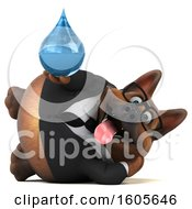 Clipart Of A 3d Business German Shepherd Dog Holding A Water Drop On A White Background Royalty Free Illustration by Julos