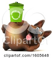 Clipart Of A 3d German Shepherd Dog Holding A Recycle Bin On A White Background Royalty Free Illustration by Julos