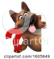 Clipart Of A 3d German Shepherd Dog Holding A Question Mark On A White Background Royalty Free Illustration by Julos