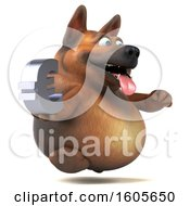 Clipart Of A 3d German Shepherd Dog Holding A Euro On A White Background Royalty Free Illustration by Julos