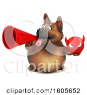 Clipart Of A 3d German Shepherd Dog Holding A Devil On A White Background Royalty Free Illustration by Julos