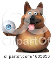 Clipart Of A 3d German Shepherd Dog Holding An Eyeball On A White Background Royalty Free Illustration by Julos