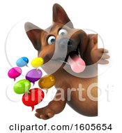 3d German Shepherd Dog Holding Messages On A White Background