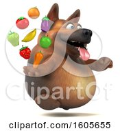 Clipart Of A 3d German Shepherd Dog Holding Produce On A White Background Royalty Free Illustration by Julos